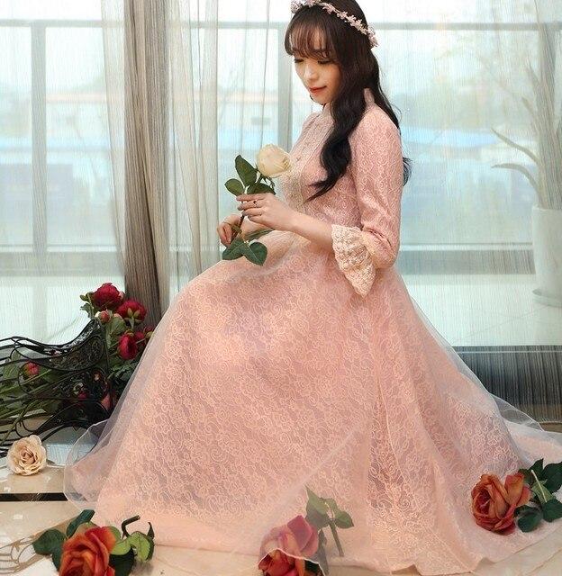 bfc11df5d0c70a ladies pink moda mujer kate middleton robe longue femme ete retro dames  jurken bohemian crochet lace chiffon lolita women dress