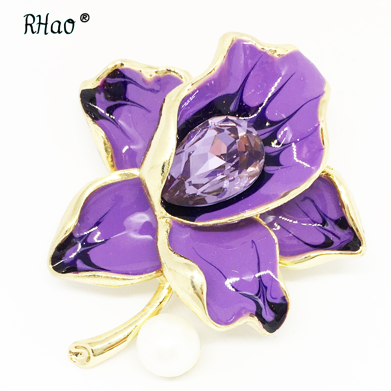 RHao Noblest Purple Crystal flower Brooches pins for women men girls Wedding jewelry clothes scarf buckles hijab pins hats clips