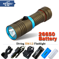 100M CREE XM L l2 5000lumens scuba diver Flashlight LED Torch Underwater Diving Light Lamp 18650 OR 26650 rechargeable batteries