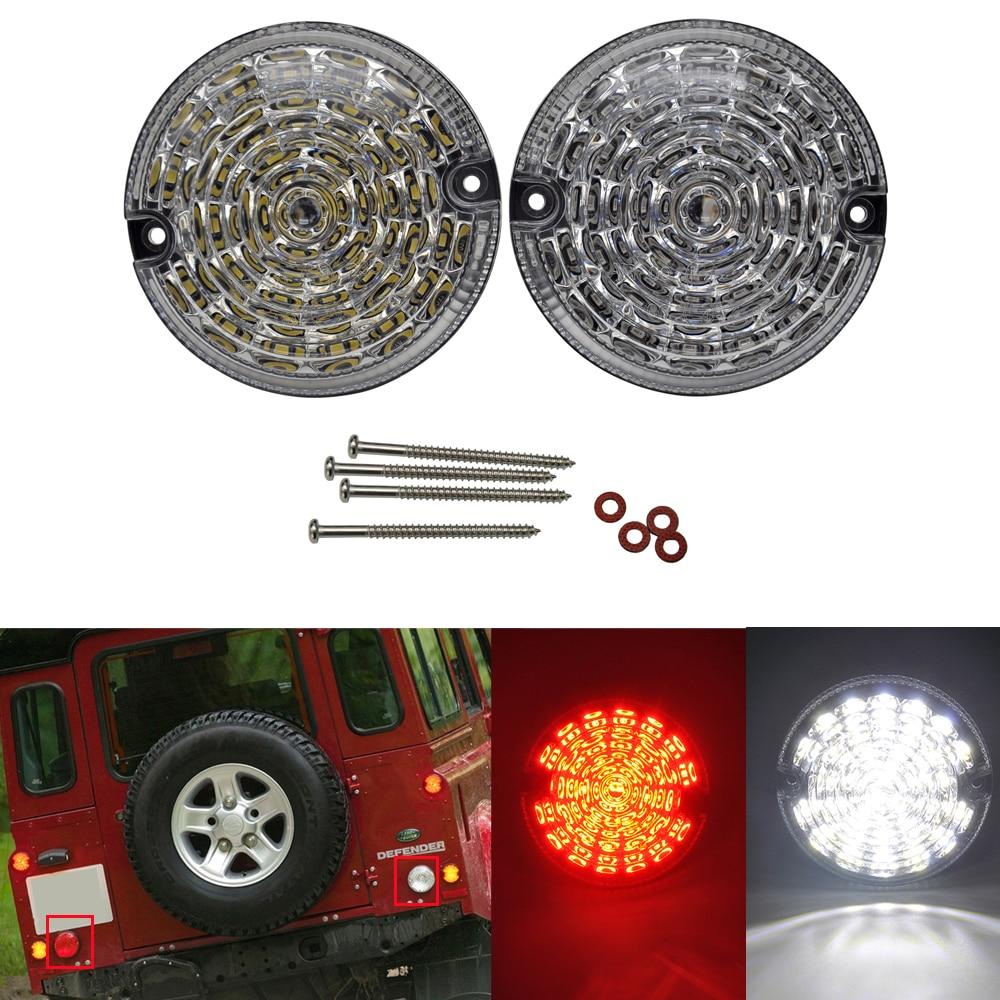 2pcs Clear Rear Fog Lamp Reversing Light 95MM LED Upgrade Kit For Land Rover Defender