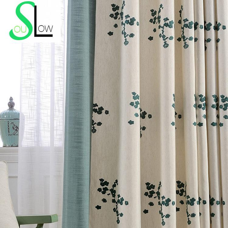 Floral embroidered curtains for living room korean style - Rideaux originaux pour salon ...