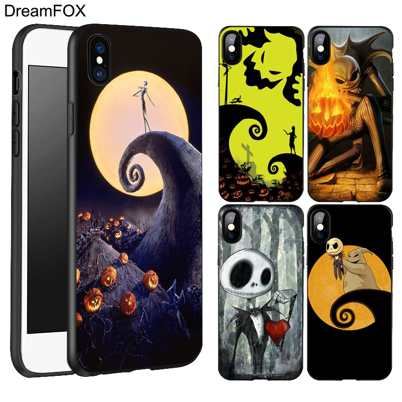 DREAMFOX L189 Jack Skellington Black Silicone Case Cover For Apple iPhone XR XS Max X 8 7 6 6S