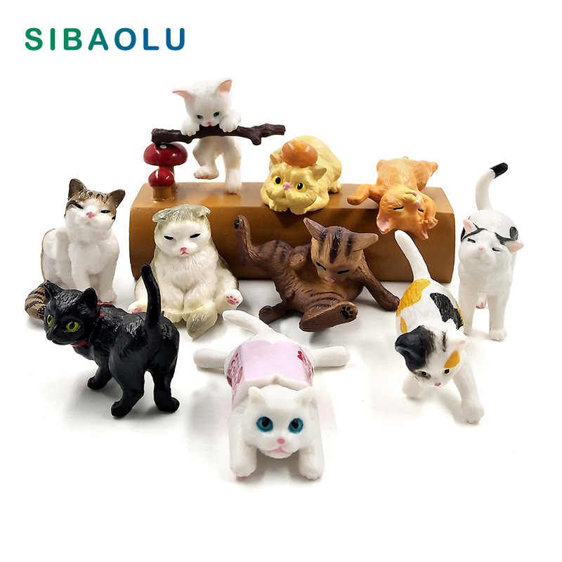 Artificial cute Playing Cat home decor miniature fairy garden decoration accessories modern figurine Cartoon animal model statue