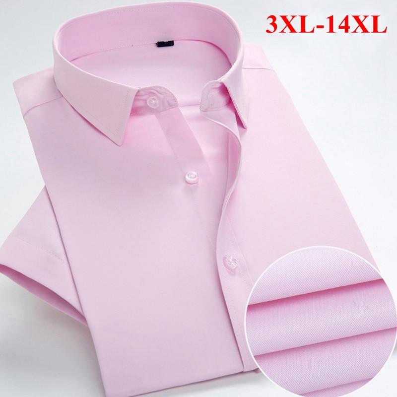 FAISIENS 14XL Large Size Summer Short Sleeved Mens Dress Shirts Turn Down Collar Blue Pink10XL 11XL 12XL Formal Casual Men Shirt