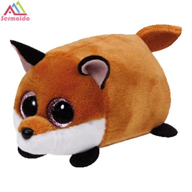 ee13b17acba sermoido TY Beanie Boo Teeny Tys Plush -Finley Slick Piper Brown Fox Big  Eyes Plush Toy Doll Purple Panda Baby Kids Gift