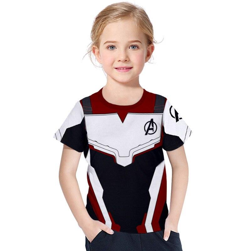 T-Shirt Short-Sleeve Avengers Superhero Girls Boys Iron The 4-Quantum Captain-America