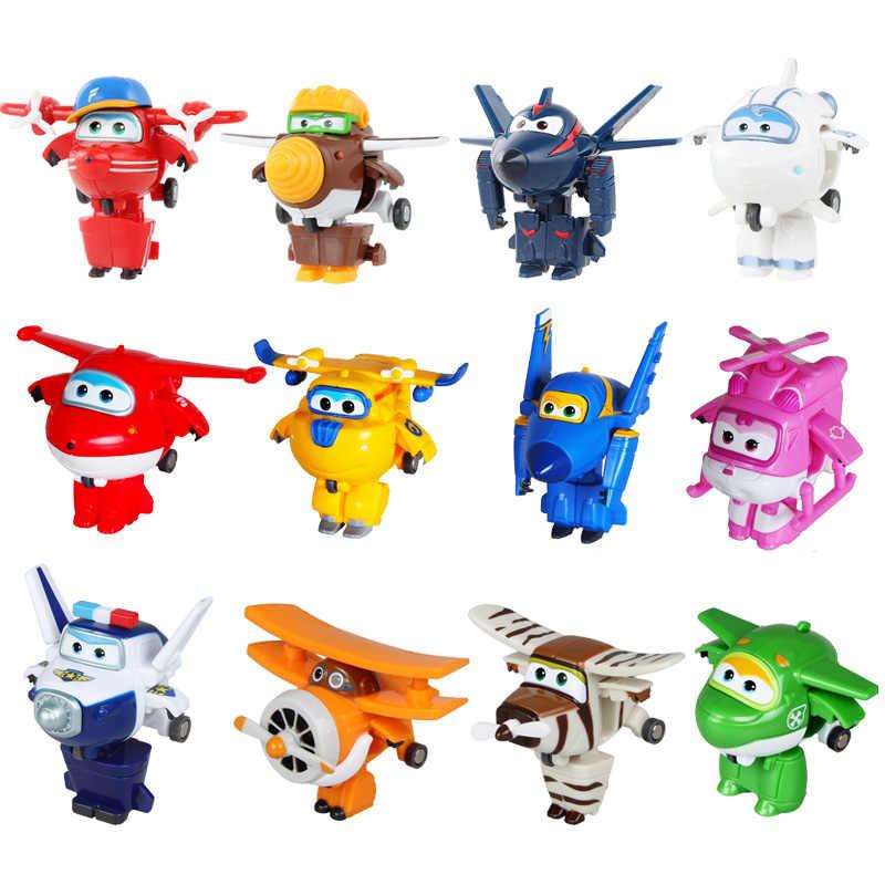 Estilo Mini Super Asas 12 Deformação Mini JET ABS Transformação Robot toy Figuras de Ação Super Asa brinquedos para presente das crianças
