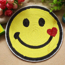 1Pcs 16.5cm DIY sequins Emoji Patch Lot Kids Cartoon Motif Patches Smile  Face Iron On 8fcb86049f7c