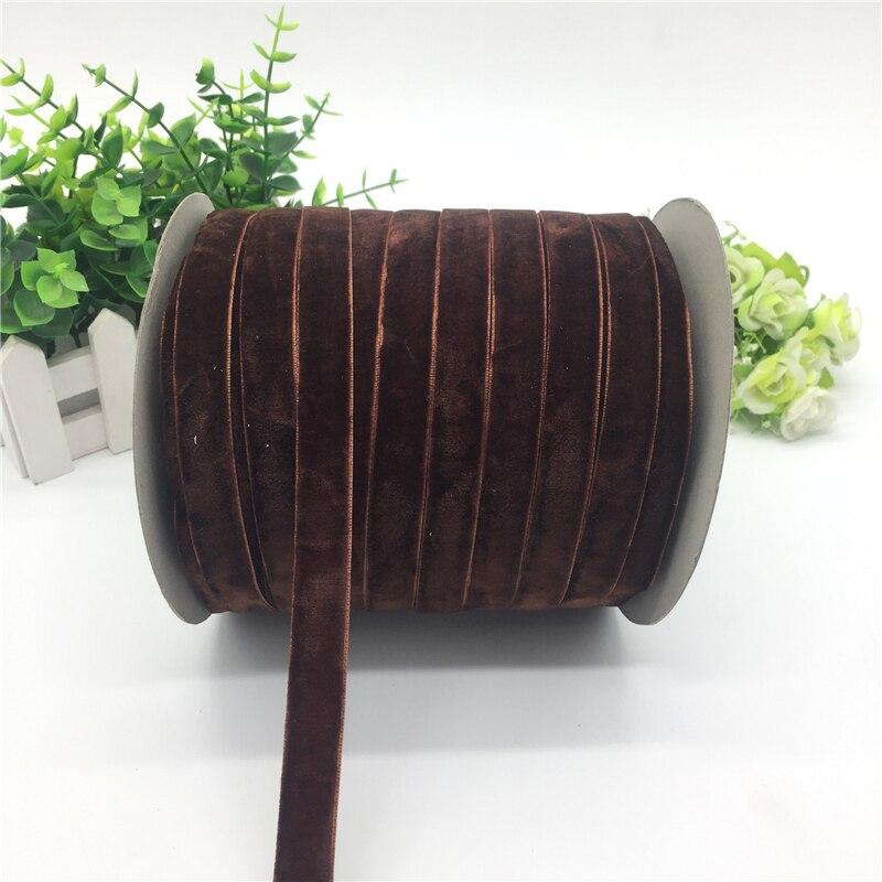 """5 ярдов 5/""""(15 мм) бархатная лента для украшения свадебной вечеринки лента ручной работы подарочная упаковка бантик для волос DIY Рождественская лента - Цвет: Brown"""