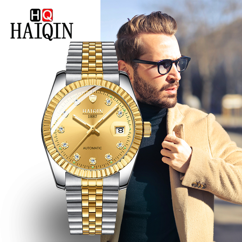 Men s Watches HAIQIN Top Brand Luxury Gold Men Stainless Steel Watch Military Automatic Mechanical Wrist