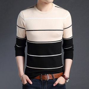 Image 4 - 2020 New Fashion Brand Sweater Mens Pullover Striped Slim Fit Jumpers Knitred Woolen Autumn Korean Style Casual Men Clothes