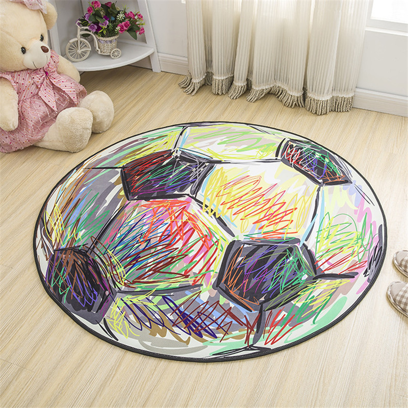 Cartoon football carpet polyester fabric round carpets for for Rugs for kids bedrooms