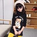 Crianças roupas quentes Meninas inverno longo camisolas de malha-Urdidura de veludo Crianças de impressão dos desenhos animados topos Tartaruga Pescoço manga longa