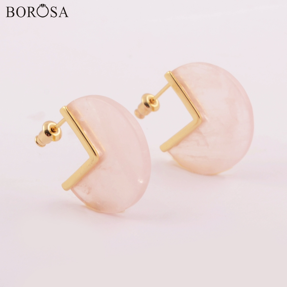 BOROSA Mode Gild Natürliche Rose Quartzs Stud Ohrringe Geniue Rosa Kristall Quarz Studs Edelsteine Ohrring Frauen Geschenke Dropship ZG0421