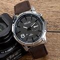 MILER Relógios Esportivos Homens Faux Leather Strap Militar Army Men relógios de Pulso Relógio Masculino Relógio de Quartzo Relogio masculino Marrom Escuro