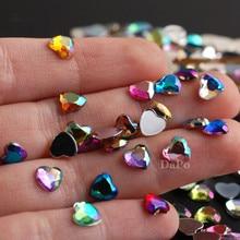 Стразы в форме сердца для ногтей, 13 цветов, 6 мм, акриловые стразы с плоской задней поверхностью, декоративные кристаллы для дизайна ногтей