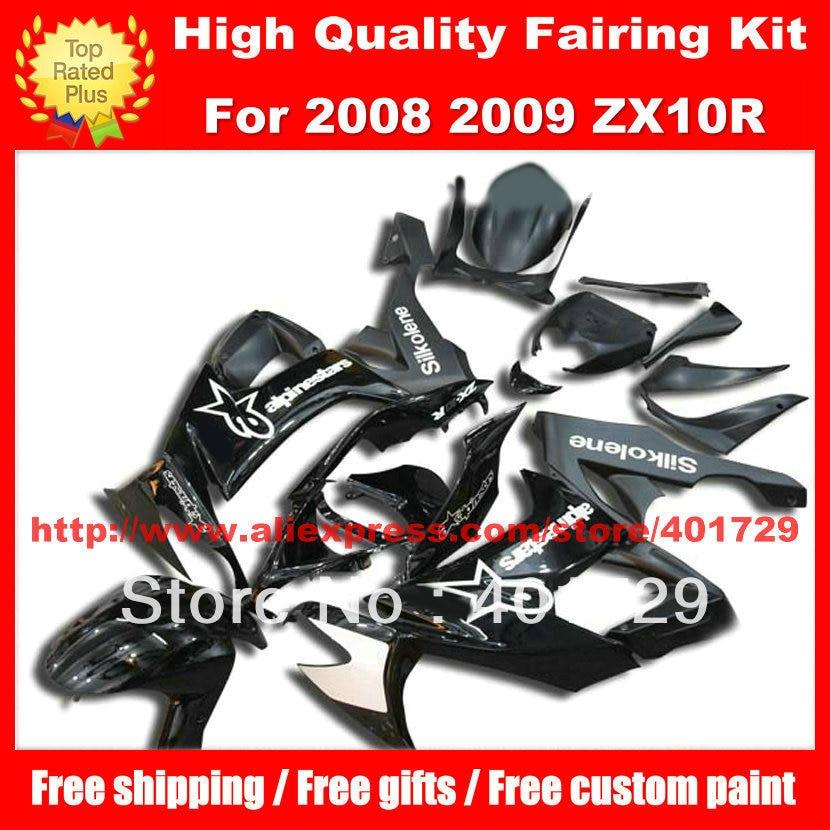 High grade fairing set for Ninja ZX 10R 08 09 ZX10 08 09 ZX10R 2008 2009 free custom paint black racing motorcycle fairing
