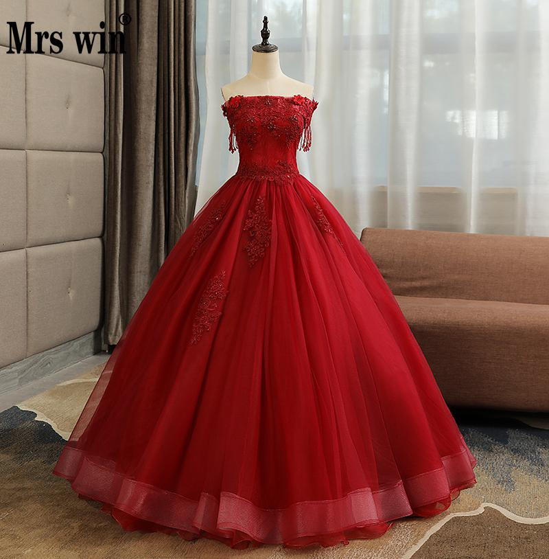 Quinceanera Dresses Mrs Win Classic Off The Shoulder Party Prom Lace Beading Prom Formal Homecoming Dress