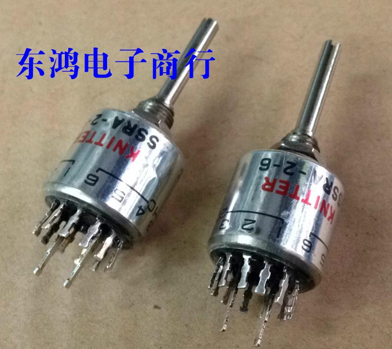2PCS/LOT KNITTER Germany SSRA-2-6 rotary band switch, 2 knife, 6 shift switch, shaft length 25MM band switch 4 knife handle length 13mm 3 files