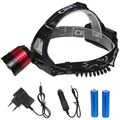 LED hunting head flash light zoom in/out headlamp tactical 3 modes rechargeable headlights with 18650 battery+wall/car charger