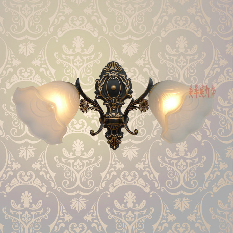 A1 Flower-shaped American bronze wall lamp simple style living room bedroom bedside lamp wall lights air corridor studyFG344 american village wall lamp nordic bronze glass bird living room bedroom bedside lamp