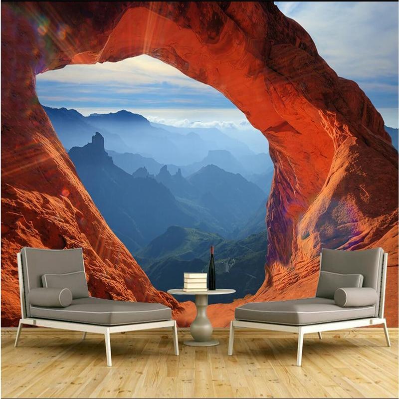 Beibehang Große Eigene Tapete Wandbild Höhle Stein Wall Bunte Berg ...