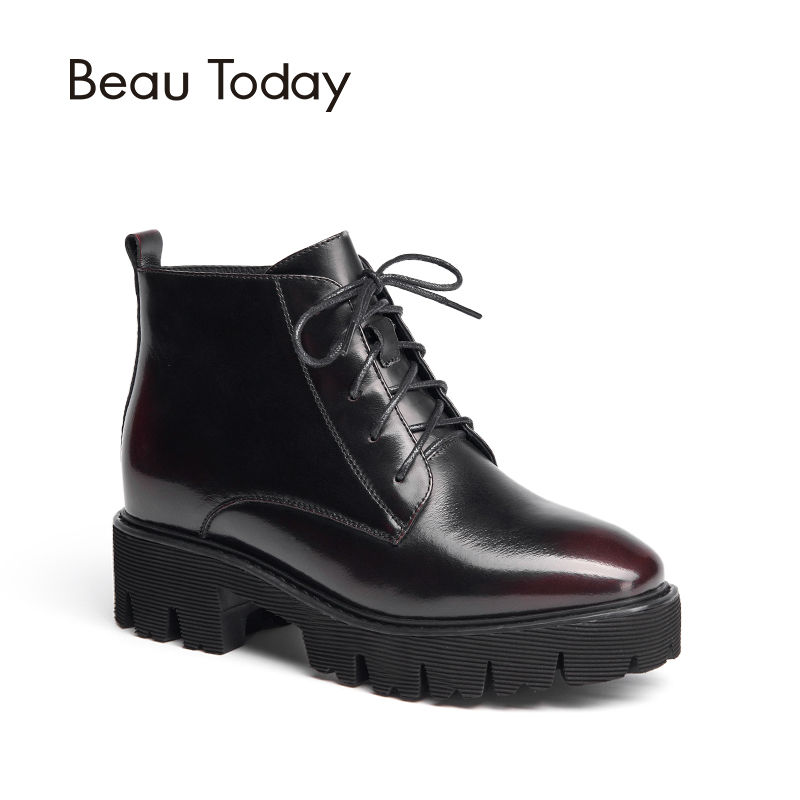 BeauToday Genuine Leather Boots Women Ankle Length Lace Up Zipper Round Toe Fashion Handmade Ladies Shoes Chic 05311 ladies casual lace up flat ankle boots fashion round toe plain cow leather boots for women female genuine leather autumn boots