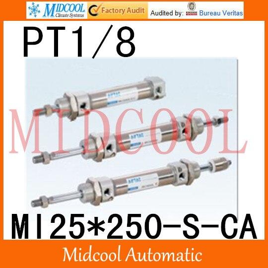 MI série ISO6432 Mini cylindre en acier inoxydable MI25 * 250-S-CA alésage 25mm port PT1/8