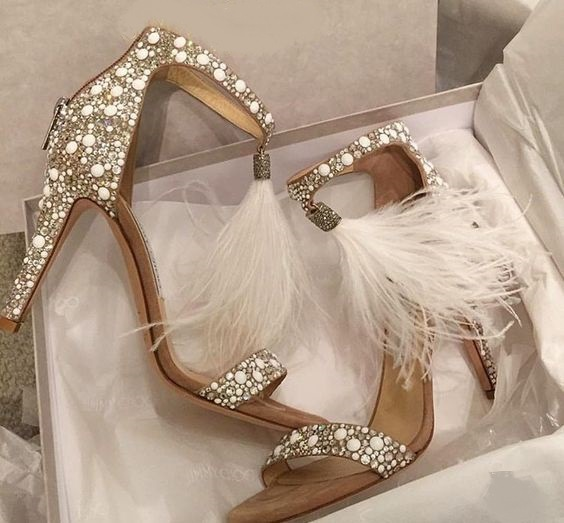Top Sale Crystal Embellished White High Heel Sandals With