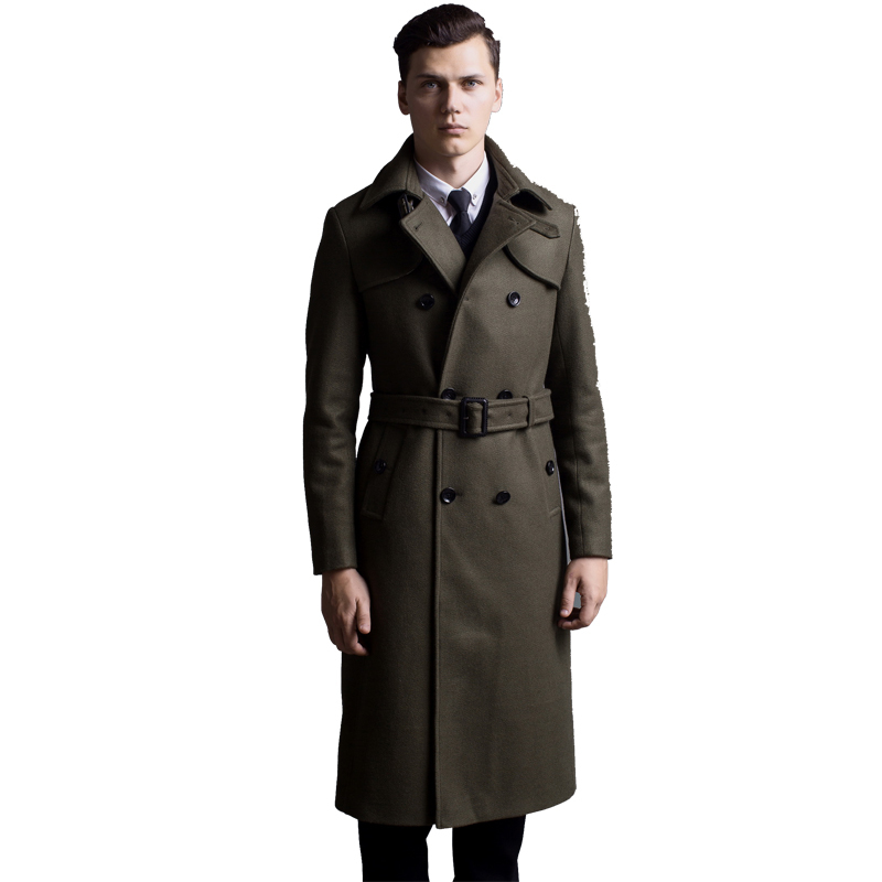Extra long wool coat male British double-breasted woolen trenchcoat mens slim fit classic army green warm pea coat army green double breasted coat with pockets