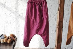 Для женщин летнее платье, дизайн, хлопковые брюки без левый карман с заниженным шаговым швом свободные большие Размеры тонкие льняные брюки для девочек D104 - Цвет: Красный