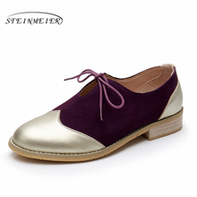 Women flats cow leather ladies shoes woman casual heels creepers handmade oxford spring summer for women vintage