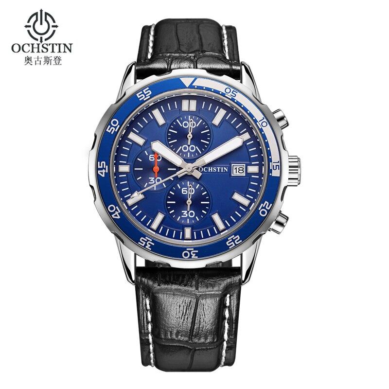 Luxury Military Watch Men Chronograph Multifunction Clock Men Leather Men Watch Montre Homme Waterproof Sport Watch