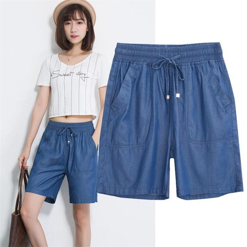 2018 Women Elastic High Waist   Shorts   Fashion Feminino Denim   Shorts   for Women Loose Straight Girls Blue   Short   Jeans Plus SIze 7XL