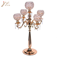 5 arms Metal Candelabras 75 cm Height Gold Finish Candlesticks with Crystal Pendants Wedding Party Event Decor Candle Holder
