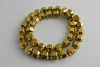 High Quality Gold Color Hematite Beads Special Shape Column Cube Sand Loose Beads For Jewelry Making 5 Strand/lot