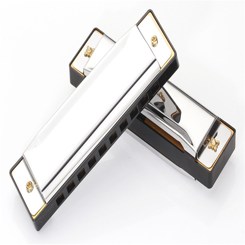 Hot Selling 10 Holes 20 Tone Harmonica Blues Harps Key Of C Silver Color Mouth Organ High Quality Diatonic Harp