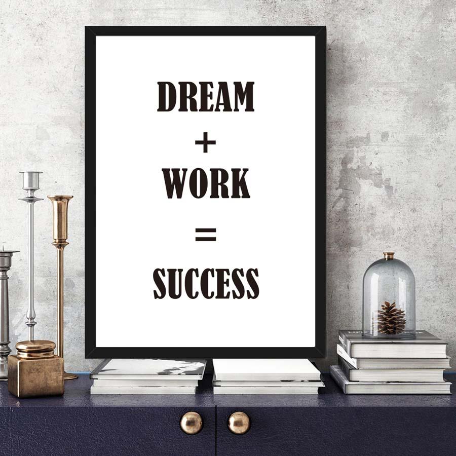 Dreams Plus Work Equal Success Inspirational Quote Canvas