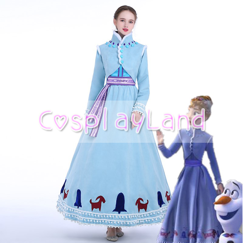 2018 Olaf's Adventure Princess Anna Cosplay Costume Carnival Halloween Costume Adult Women Christmas Winter Anna Costume