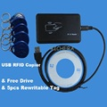 USB 125 khz RFID Ler Escritor Duplicador Duplicate Copiadora EM4100 EM4305 Compatível T5577 Regravável Cartão & 5 pcs Tag Gravável