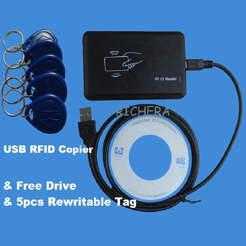 USB 125khz RFID Read Writer Duplicator Copier Duplicate Compatible EM4100 EM4305 T5577 Rewritable Card & 5pcs Writable Tag