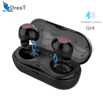 Q18 Wireless Bluetooth Headphones HiFi Bass Earphones with Charging Box Headsets Earbuds with Mic For iPhone Xiaomi Phone pk I12