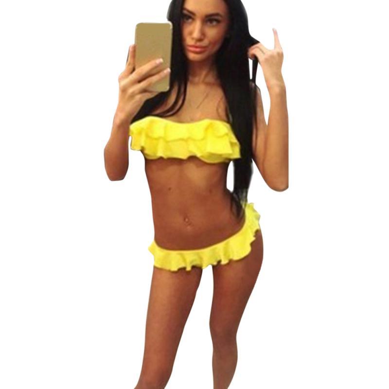 snowshine3 YLI Women Push-Up Padded Bra Beach Bikini Set Swimsuit Sexy Fold Edge Swimwear