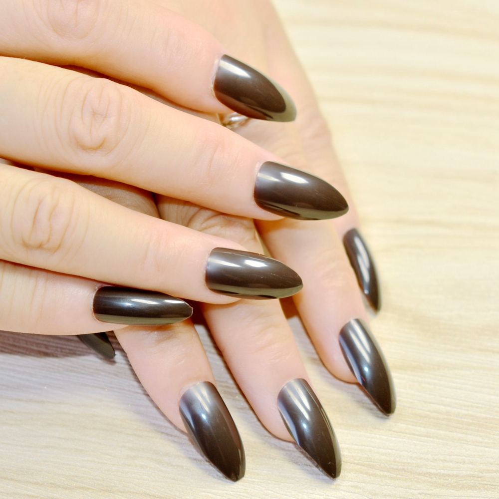 Full Wrap Medium Fake Nails Dark Color Sharpen Stiletto Acrylic Nail Tips Easily Diy Material Fashion Design 229p In False From Beauty Health