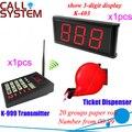 Электронный беспроводной системы управления очередью 1 transmiter 1 дисплей приемника 1 билет диспенсер бесплатная доставка