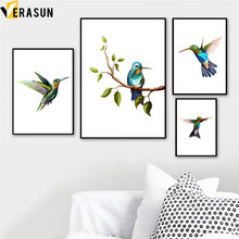 Watercolor Bird Tree Leaves Animals Wall Art Canvas Painting Nordic Posters And Prints Pictures For Living Room Home Decor