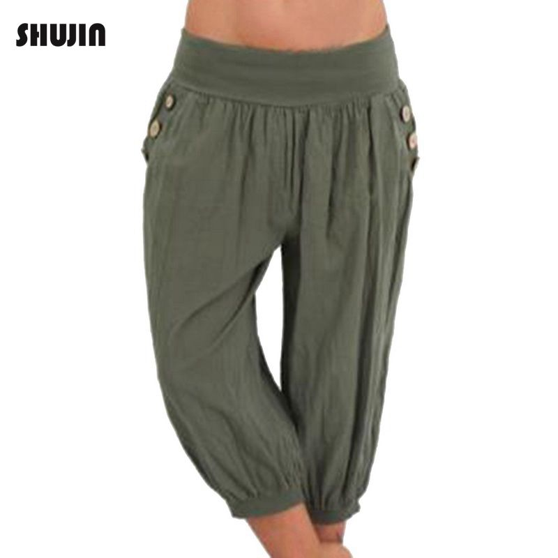 SHUJIN 2018 Women 5XL Plus Size Loose   Pants   Casual Elastic Waist Harem   Pants     Capris   Female Retro Baggy Trousers Pantalones