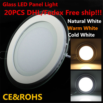 DHL Free 6w 12w 18w led panel downlight glass Round ceiling recessed panel light warm/natural/cold white panel lights 85-265V