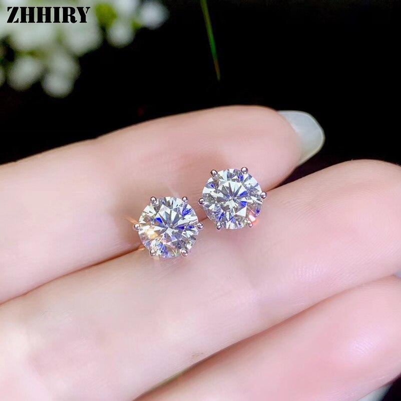 ZHHIRY réel Moissanite 925 boucles d'oreilles en argent Sterling pour les femmes boucle d'oreille goujon Total 2ct D VVS gemme avec certificat bijoux fins - 3