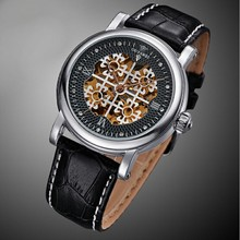 Hot Sale OUYAWEI leather Band Sport watch Top Brand skeleton Luxury White watch women Mechanical Wristwatches Gold Gifts clock цена